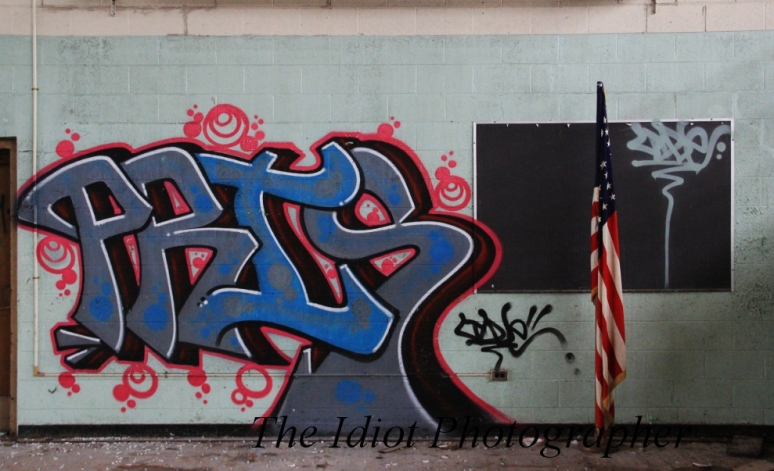 graffiti and flag