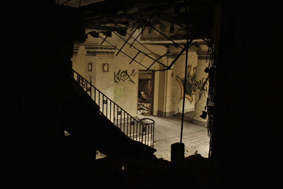 Lobby as seen through a hole in an adjacent apartment.